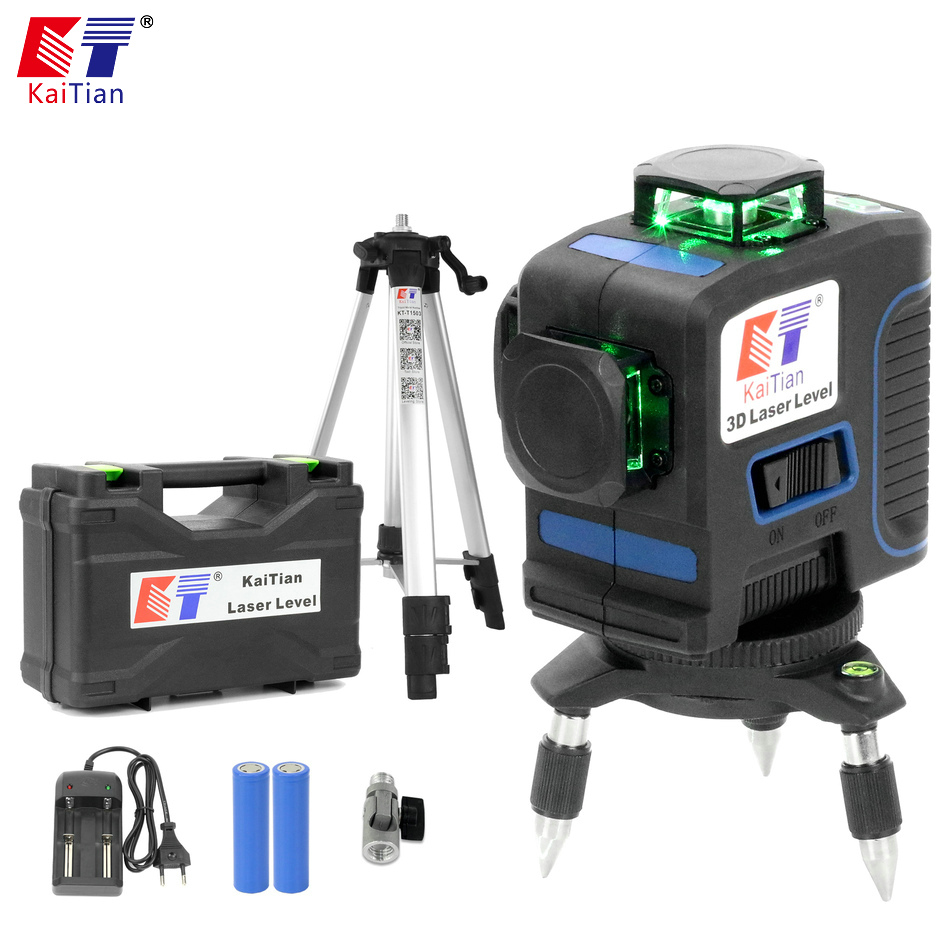Kaitian 3D 12Lines Green Laser Level Tripod Self Leveling Cross Vertical Horizontal 360 Rotary Nivel Line