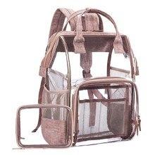 2019 Transparent Bags Pvc Schoolbag For Teenage Girl Diy Large Capacity Women's Backpack  Black Gray Travel Backpacks Jelly Bag