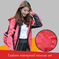 Women Jacket Travel Raincoat Suit Waterproof Rain Fashion Hiking Hooded Womens Raincoat Ladies Capa De Chuva Sets Rainwear YY303