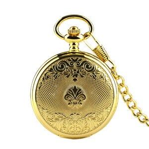 Image 3 - Luxury Gold Mechanical Pocket Watch Exquisite Design Hand Wind Pendant Watch Fob Pocket Chain for Men Women reloj de bolsillo