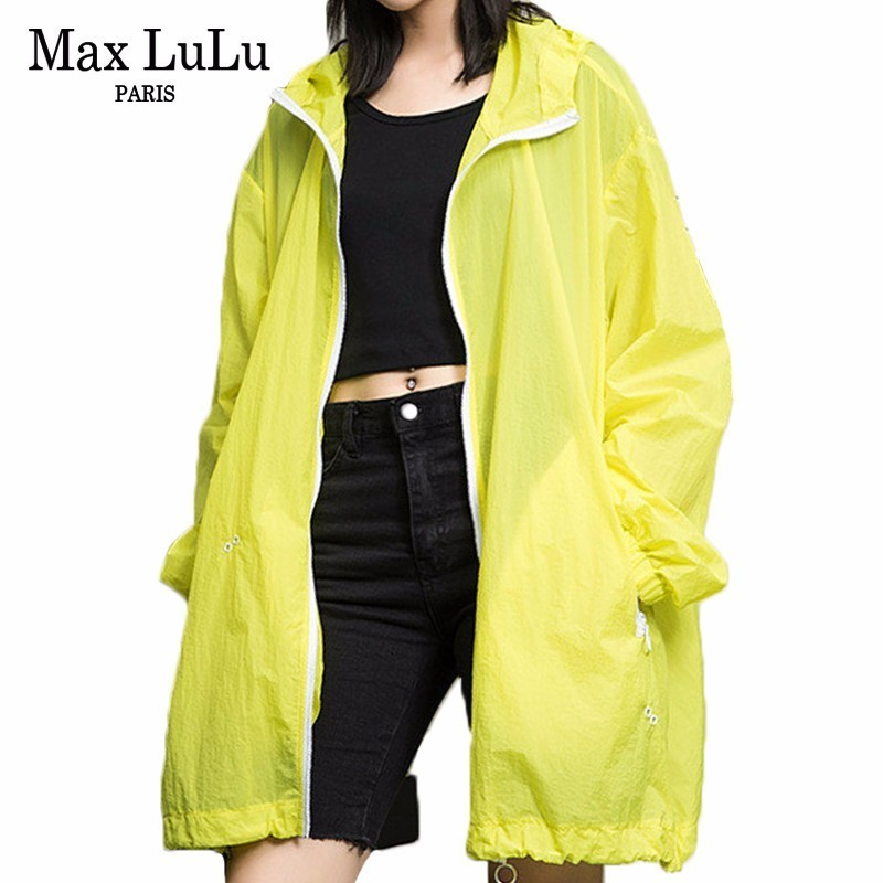 Max LuLu Fashion Ladies Sun Protection Clothes Womens Hooded Oversized   Trench   Femlae Punk Long Coat Casual Windbreaker Plus Size