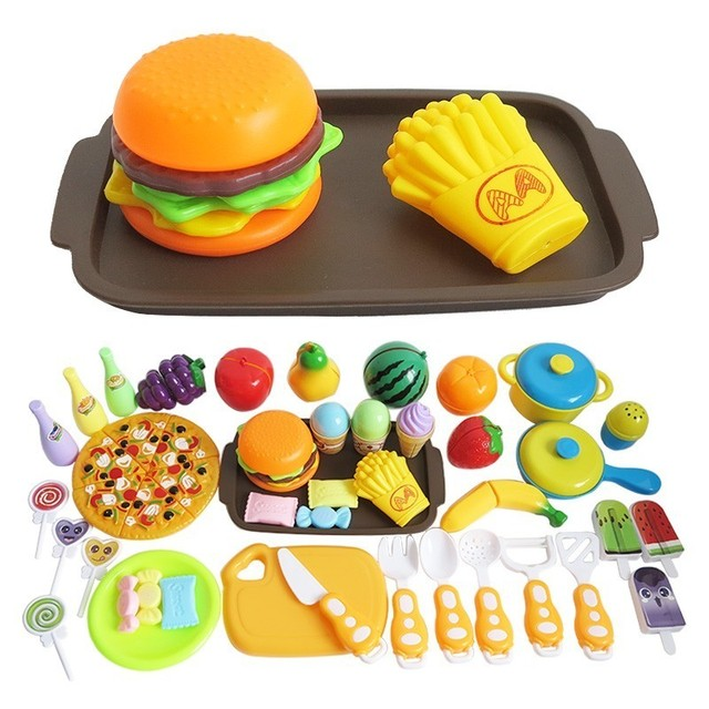 Children's Kitchen Toys Plastic Simulation Food Pizza Ice Cream Dessert Fruit Cutting Pretend Play Early Education Toy For kids