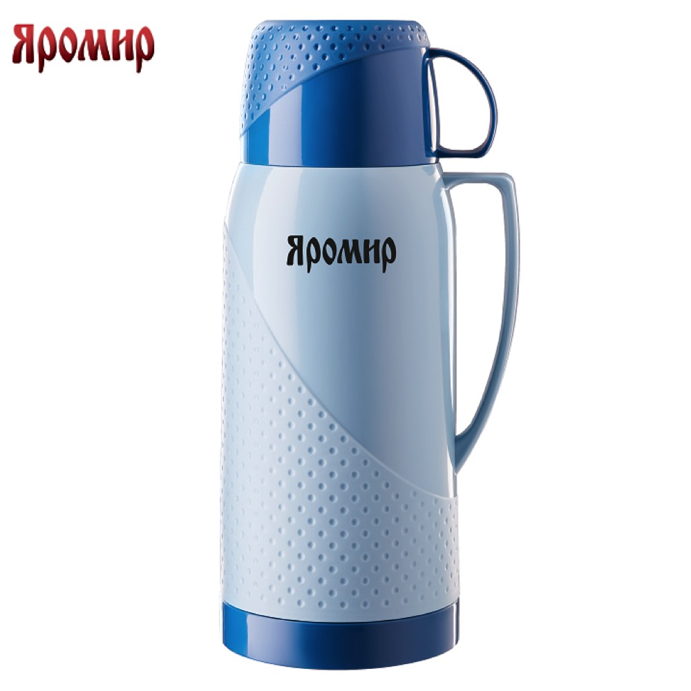 Vacuum Flasks & Thermoses Yaromir YAR-2023C Grey/Blue thermomug thermos for tea Cup stainless steel water vacuum flasks