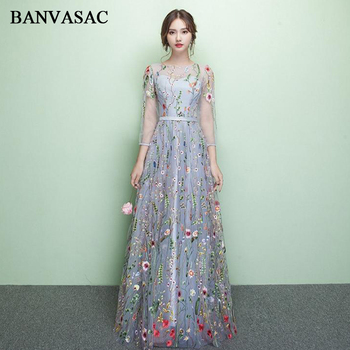 BANVASAC O Neck Floral Print Lace Appliques Long Evening Dresses Party A Line Sash Illusion Zipper Backless Prom Gowns