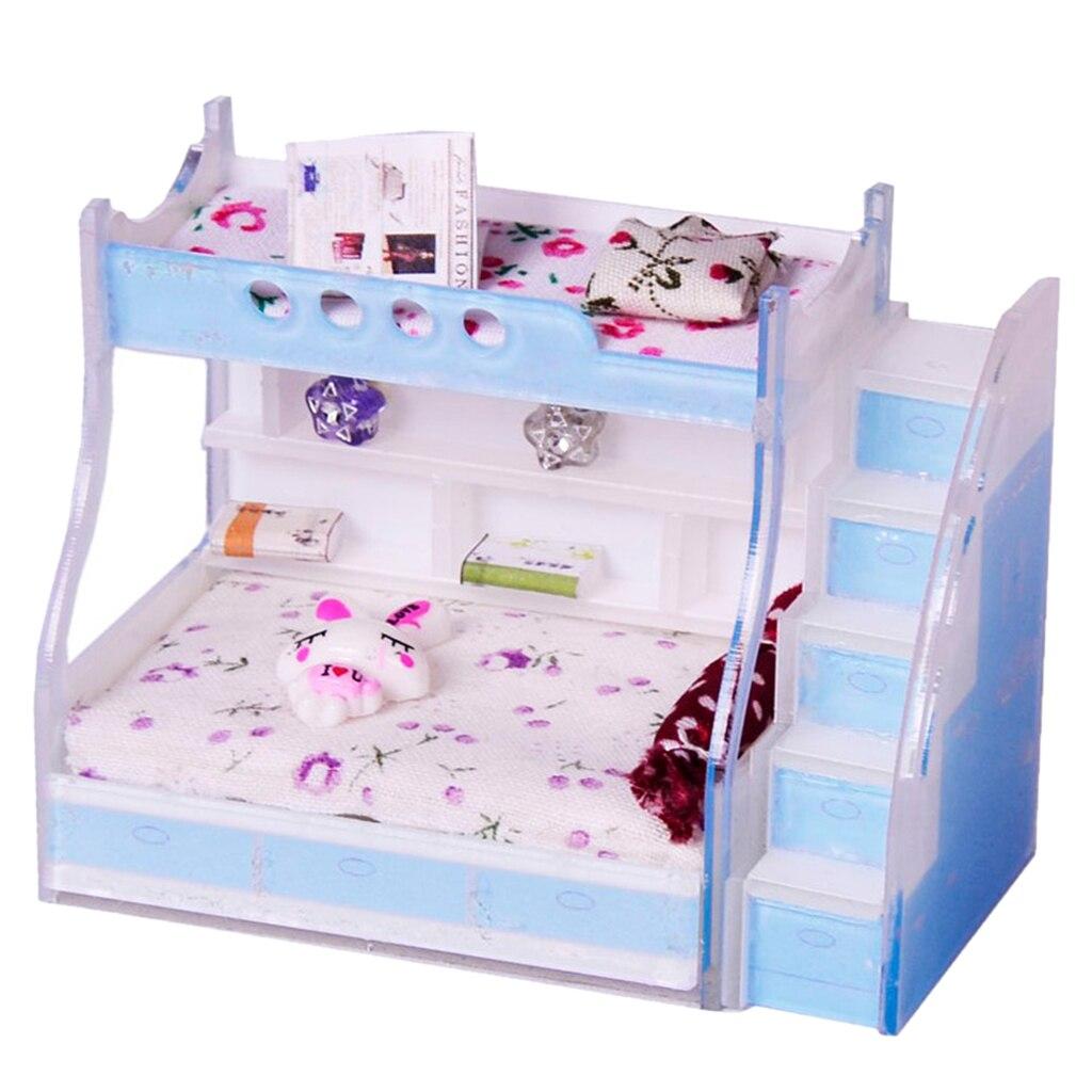 1/12 Das Crianças Em Miniatura Dollhouse Mobília do Quarto de Cama de Beliche Beliche Beliche com Escadas Acessórios Crianças Pretend Play Toy