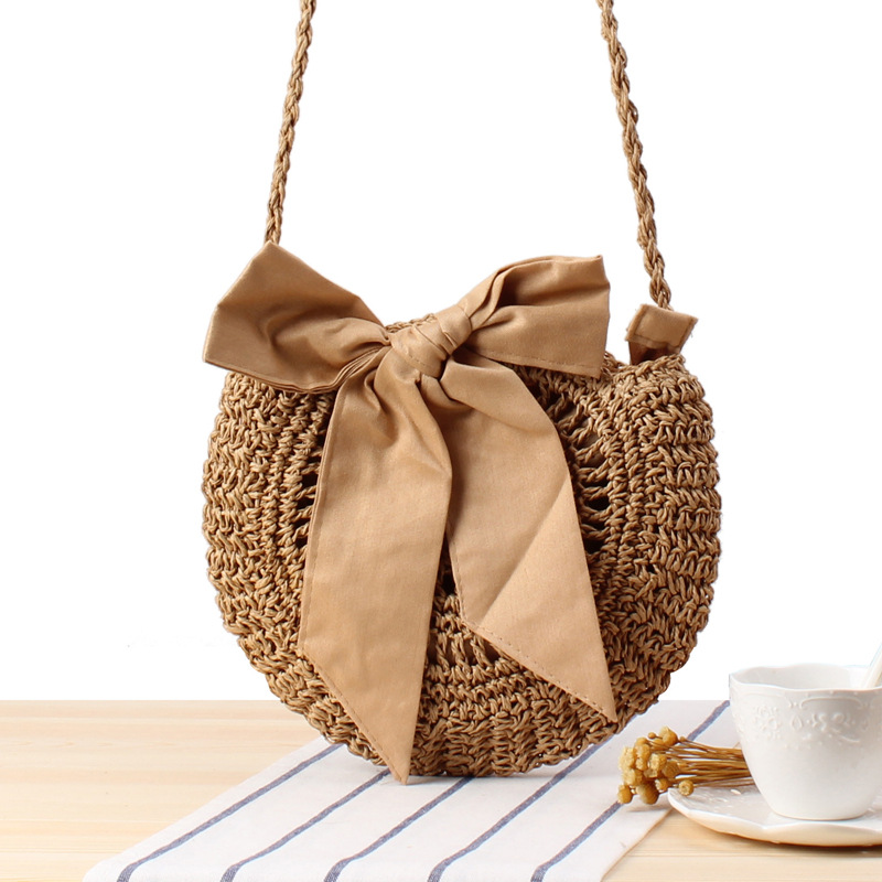 Messenger Bag Women's Small Hot Sale Cute Bow Tie Woven Bag Round Straw Bag Handbag Beach Bag Party Night Women Handbags