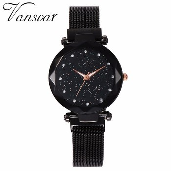 Best Selling Women Mesh Magnet Buckle Starry Sky Watch Casual Luxury Women Geometric Surface Quartz Watches Relogio Feminino 3