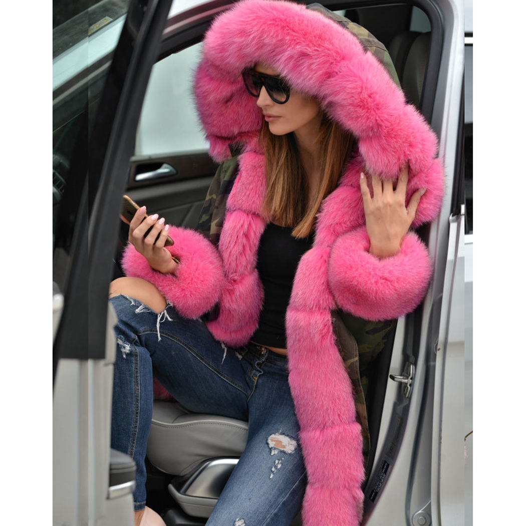 Épais Chaud Fourrure Pink D'hiver 2018 Manteau Fausse Parkas Col Automne Capuchon Parka Femmes Hot Outwear De Plus Camouflage En À La Pardessus Militaire Taille wUgZqcx7za