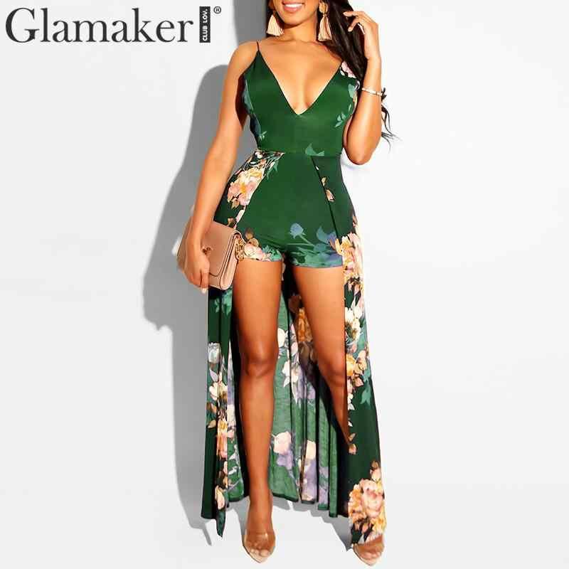 Glamaker, глубокий v-образный вырез, принт, сексуальный женский комбинезон, Летний комбинезон, шнуровка, открытая спина, короткий комбинезон, комбинезоны, женский элегантный комбинезон
