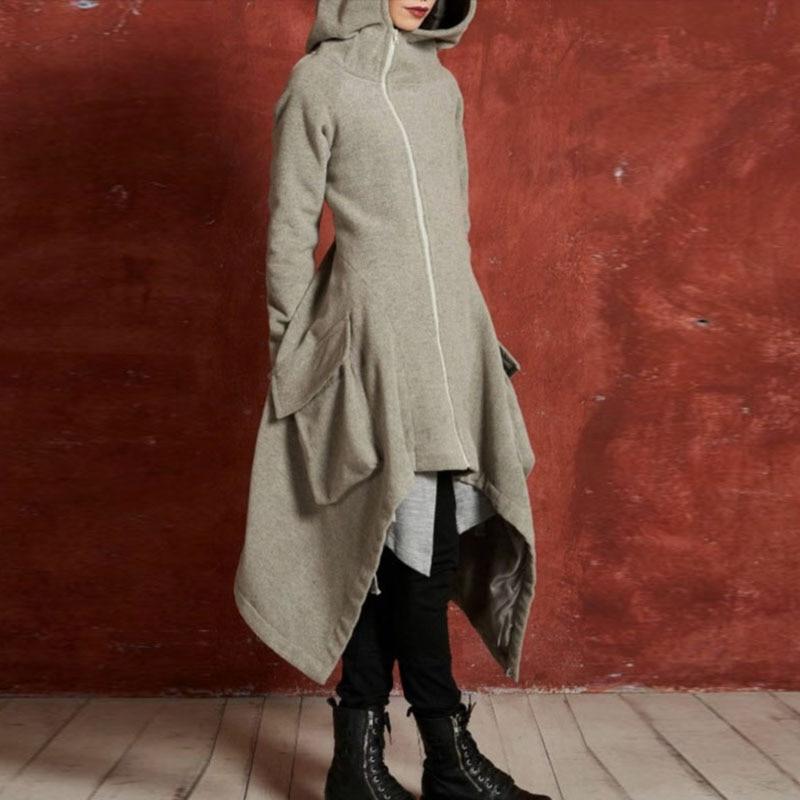 Fashion Women Hooded Long sleeved Zipper Bat Hem Long Coat Jacket medieval steampunk gothic ladies cool girls Windbreaker