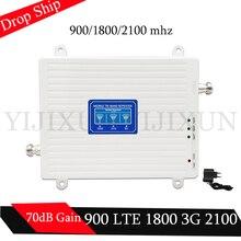 70dB усиления 2g, 3g, 4g трехдиапазонный усилитель сигнала 900 1800 2100 GSM WCDMA UMTS LTE сотовый ретранслятор 900/1800/2100 mhz усилитель
