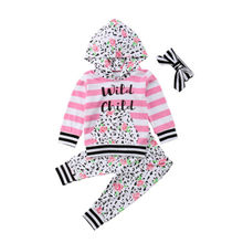 Kids Baby Girl Floral Outfits Clothes Hoodie Tops +Long Pants Headband 3PCS Set thanksgiving toddler kids baby girl clothes long sleeve tops plaid pants leggings headband 3pcs outfits clothes set