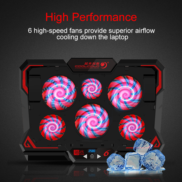 Laptop Cooler Six Fans LED Display Two 2600RPM USB Ports