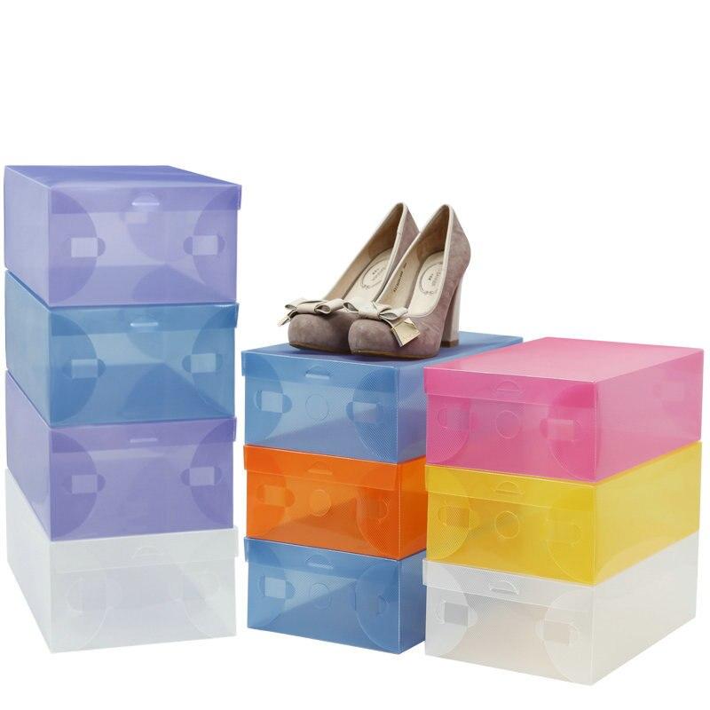 10 Pcs Eco friendly Shoe Storage Box Case Transparent Plastic Storage Box Rectangle Pp Shoe Organizer Thickened Drawer Shoe Box