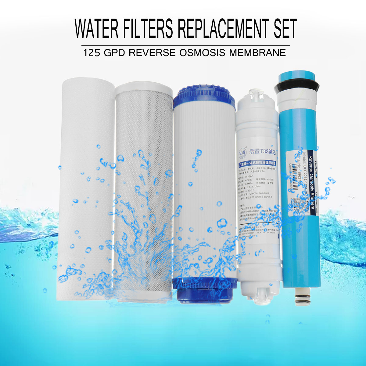 5 Stage Reverse RO Water Filters Replacement Set with Water Filter Cartridge 75/100/125 GPD Membrane Home Kitchen Water Purifier5 Stage Reverse RO Water Filters Replacement Set with Water Filter Cartridge 75/100/125 GPD Membrane Home Kitchen Water Purifier