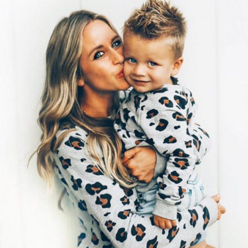 family-matching-outfits-mother-daughter-son-kid-long-sleeve-leopard-shirt-family-clothes-looking-outfits