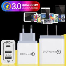 2 - Port USB PD3.0 QC3.0 Fast Charger 2.4A Type C USB3.1 Charge Plug PD For Huawei P30 Pro P20 Xiami9