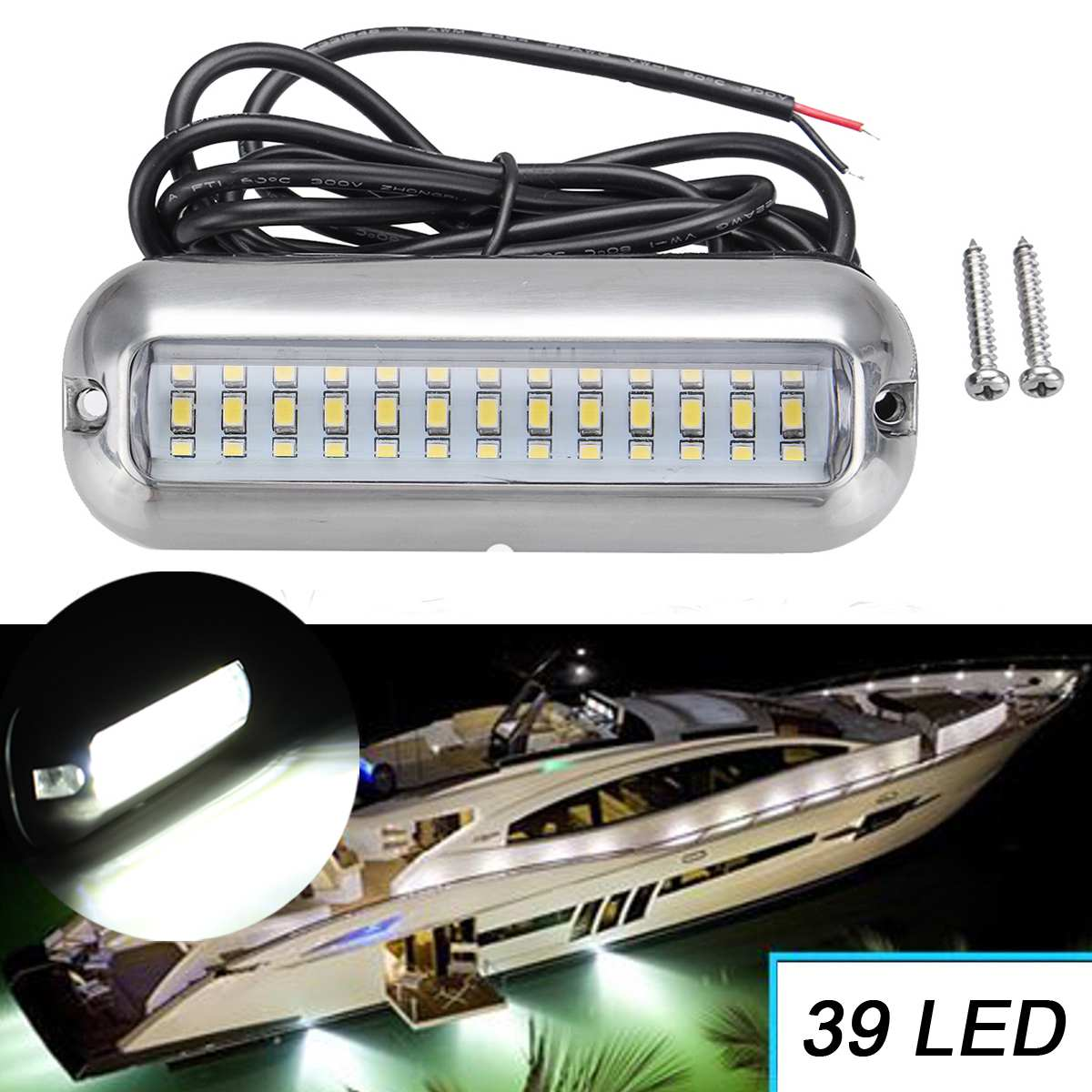 Set of 2 White Underwater Boat Marine High Intensity Stainless Steel LED lights