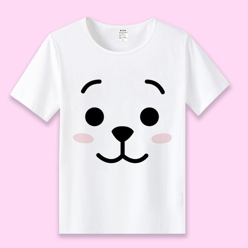 Harajuku Style T Shirt Korea Kpop Bangtans Cartoon Cute Cooky Bear Women Unisex Casual Shirts Student JIMIN JUNGKOOK Tops Te