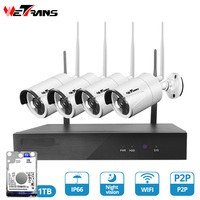 Wetrans wifi cctv camera system kit security 4CH 1080P 1T HDD wireless camera NVR home surveillance set waterproof night vision