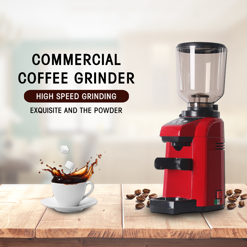 ITOP Electric Red Coffee Grinder Quantitative Espresso Commercial Bean Maker Burr Grinding Machine