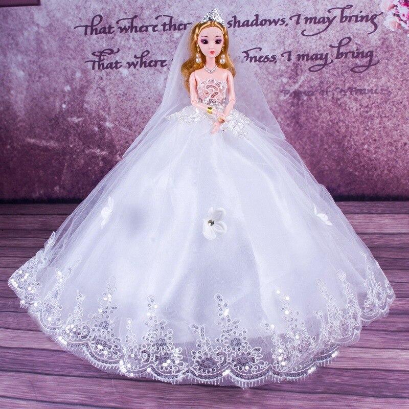 Poupée de mariage Sequin princesse-cadeau 3D yeux mariée ornements grande queue secouant son commerce extérieur jouets