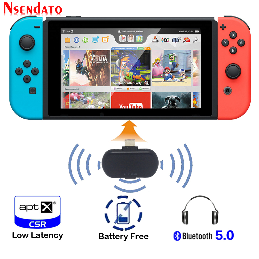 Wireless Bluetooth 5.0 Stereo Type-C Audio Transmitter Transceiver Adapter Support APTX LL SBC Low Latency For Nintendo Switch