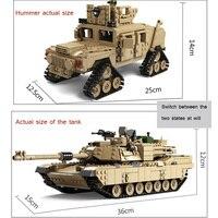 KAZI 10000 Century Military M1 A2 Tank Cannon Deformation Car DIY Compatible LEGOING Tank Building Blocks Bricks children toys