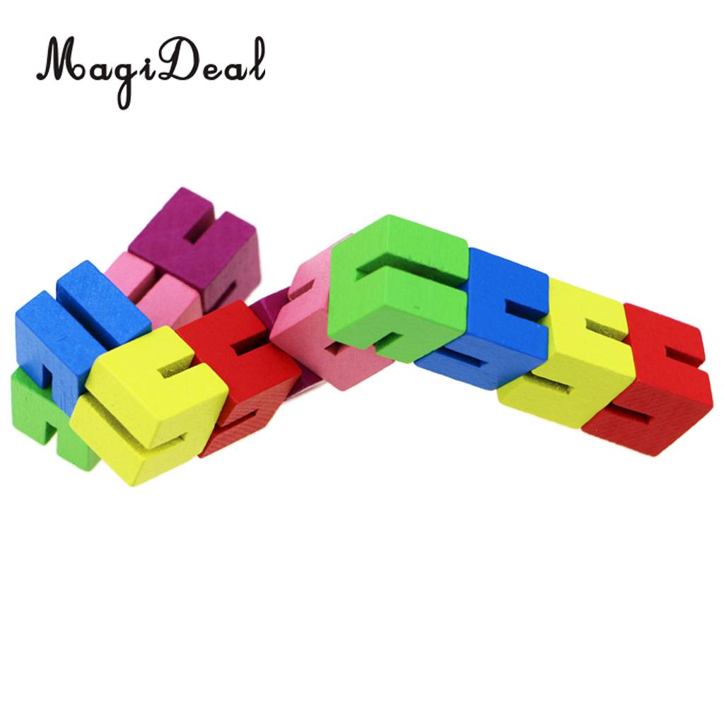 String Of 12 Wooden Cube Puzzle Shape Transforming Brain Teaser IQ & Sensory Stress Relief Toy for Kids Children Toddlers analog watch