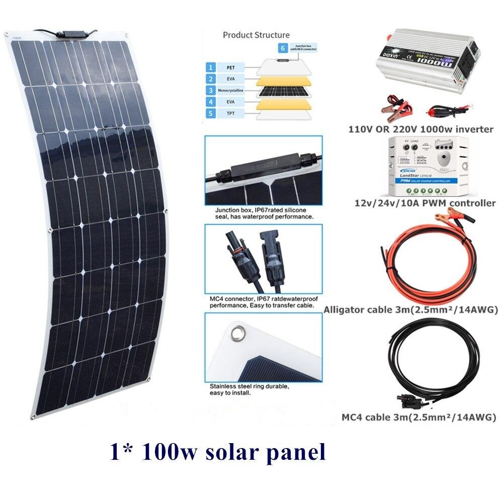 100w Flexible Solar Panel System Kit 12v 24v 10A controller 110V OR 220V 1000w DC12V inverter