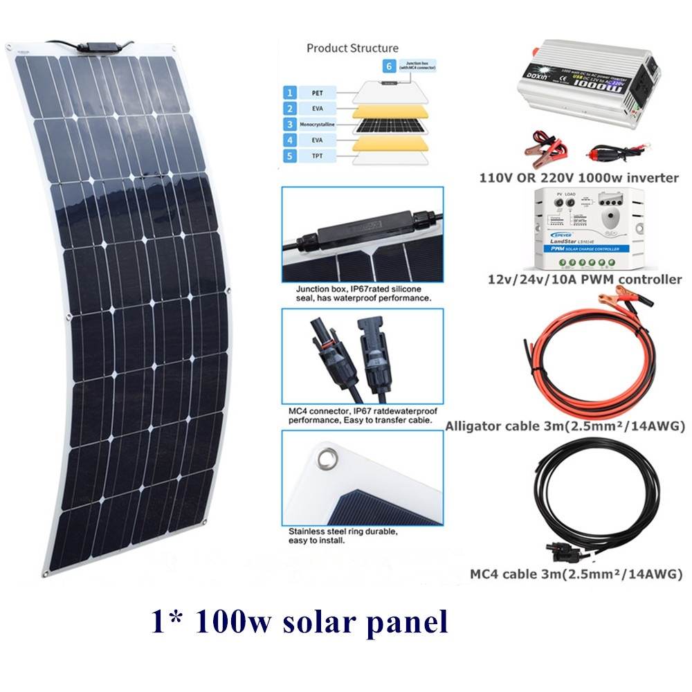 100 w Flexible panneau solaire système Kit 12 v/24 v/10A contrôleur 110 V ou 220 V 1000 w DC12V onduleur pour extérieur maison jardin pelouse voiture-in Systèmes d'énergie solaire from Electronique    1