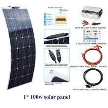 100w Flexible Solar Panel System Kit 12v/24v/10A controller 110V OR 220V 1000w DC12V inverter For Outdoor Home Garden Lawn Car