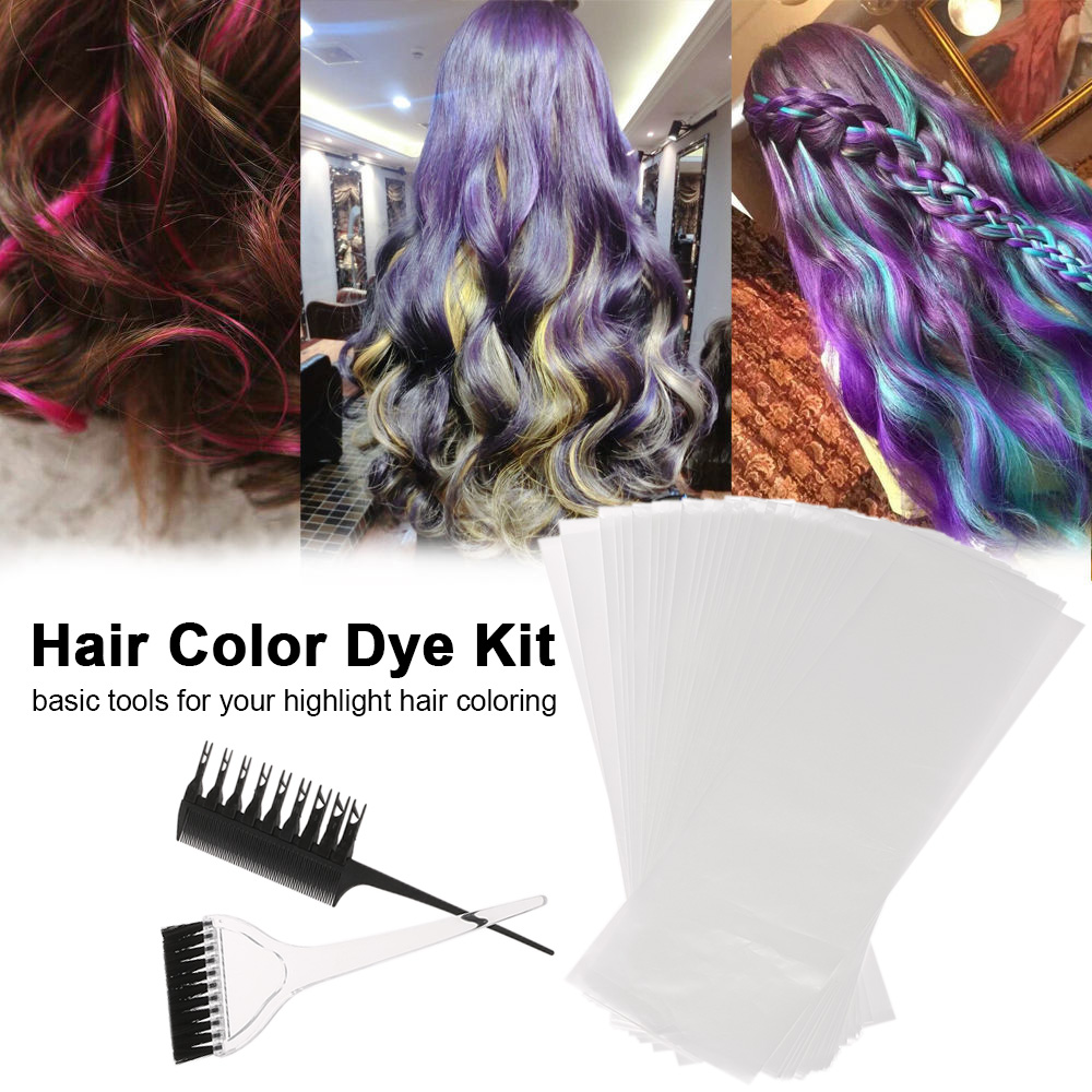 Hair Color Dye Kit Professional Hair Coloring Dyeing Highlighting Tool Hair Comb Applicator Tint Brush Plastic Hair Dye PaperSet