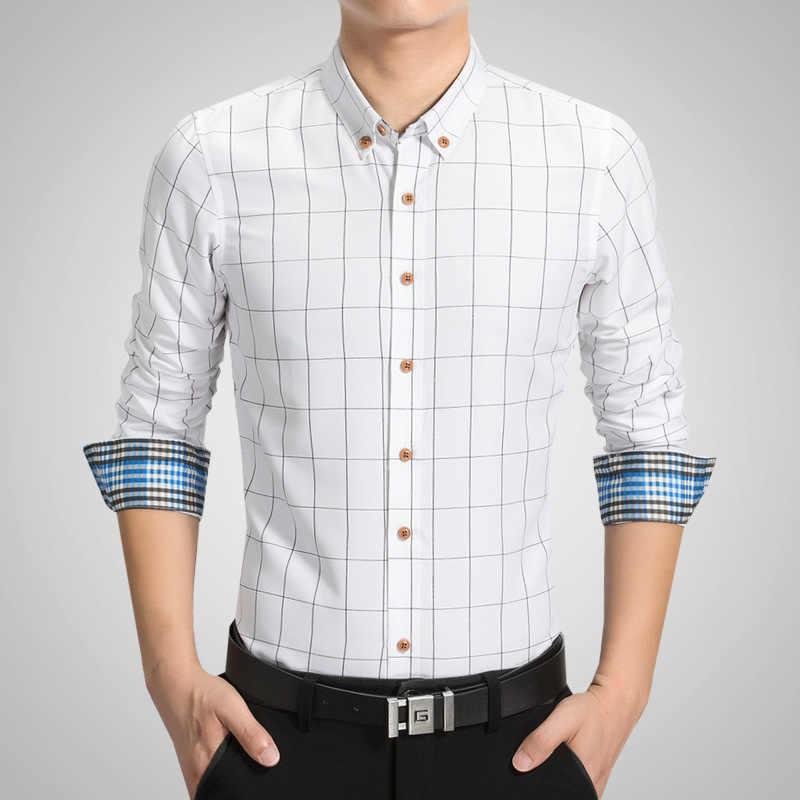 プラスサイズのチェック柄カジュアル男性のシャツ