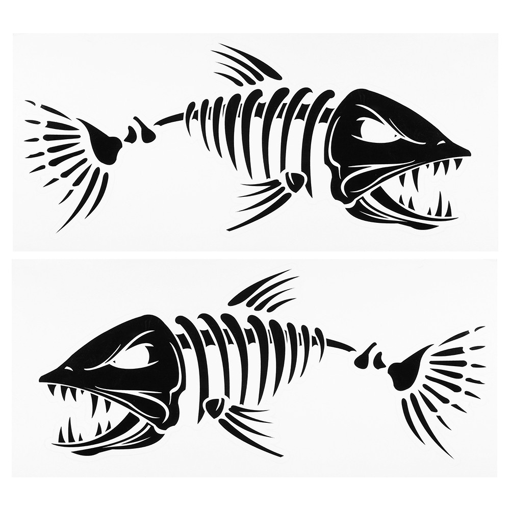 Fish Teeth Mouth Stickers Skeleton Fish Stickers Fishing Boat Canoe Kayak Graphics Accessories
