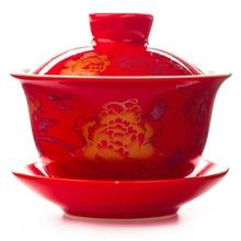 Чайный чайник Tureen, чайный чайник с керамическим покрытием в китайском стиле с драконом/пионом, чайные наборы кунг-фу, лучший свадебный подар...