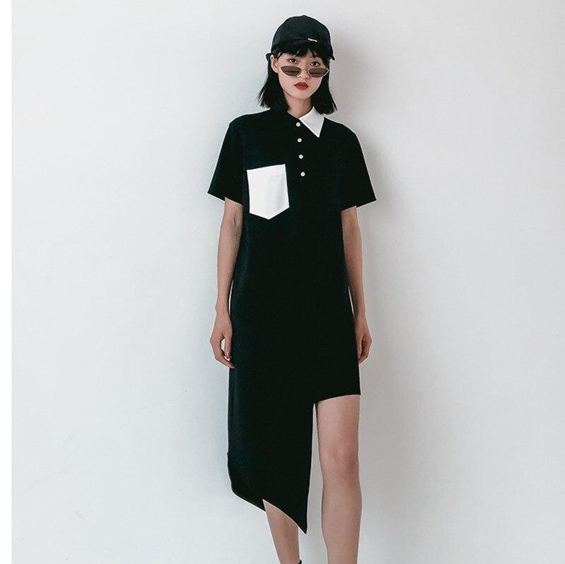 EWQ New Pattern Of 2019 Spring Summer Lapel Collar Short Sleeve Solid Asymmetrical Patchwork Pockets