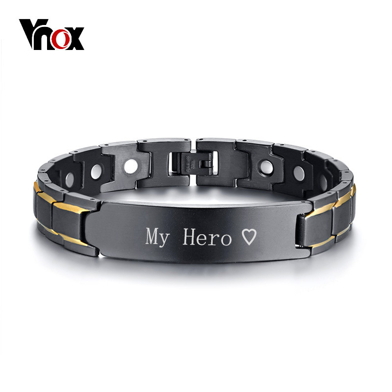 Vnox Personalized ID Jewelry Black Therapy Healing Magnetic Bracelets Men Stainless Steel Power Bangle Father's Day Dad Gift