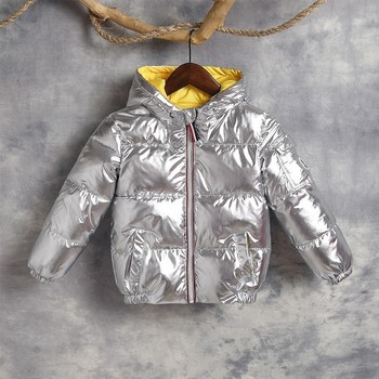 Winter Jackets For Boys Warm Coat Silver Kids Jacket Thick Warm Solid Hooded Down Snow Wear 4 5 6 7 8 Y Girls Outerwear Parkas