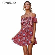 Женское пляжное платье мини с цветочным принтом и открытой спиной