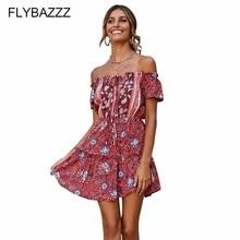 купить 2019 New Bohemian Women Print Maxi Beach Dress Sexy Off The Shoulder Backless Mini Dresses Summer Floral Ruffle Beach Dresses по цене 1006.93 рублей