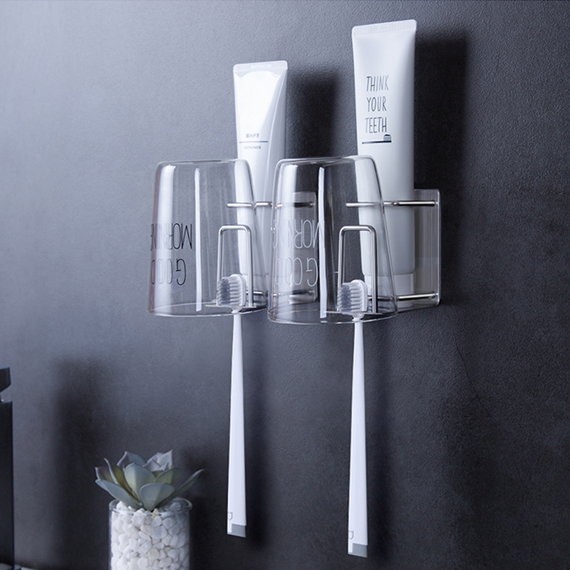 Bathroom Storage Rack Decoration Accessories Set Cup Glass For Toothbrushes Toilet Stainless Steel Holder Toothbrush Organizer image