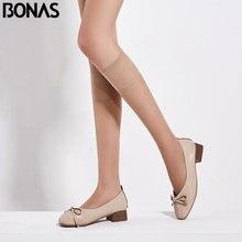 Bonas 4 meias femininas transparentes, meia cano baixo 20d, perna inferior, na altura do joelho, fino, liso, feminina, garotas, meia malha
