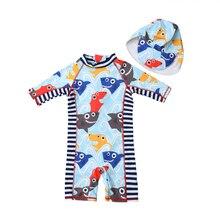 Toddler Baby Boys Girl Kids Cartoon Rash Guard Sun Protective Surf Swimwear Hat 2Pcs Swimming Bathing Suit Swimsuit Beachwear