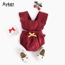 Baby Girl Summer Clothes Newborn Bodysuit Toddler Sleeveless Costum Clothing Red Fashion Jumpsuit Outfits Kid Climb