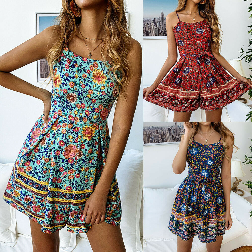 Women Holiday Strappy Mini Playsuits Ladies Summer Beach Floral Sun   Jumpsuits   Sleeveless Spaghetti Floral Summer Sexy Playsuits