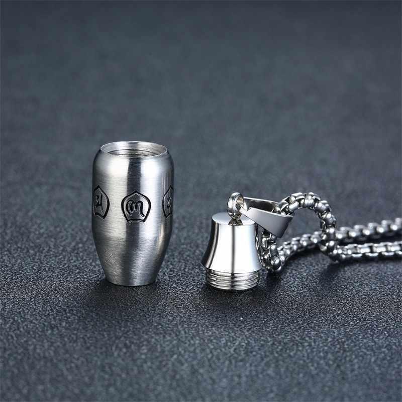 Naszyjnik ze stali nierdzewnej dla mężczyzn w kolorze srebrnym grawerowane OM Mantra sanskryt modlitwa urna buddyzm tworzenie biżuterii