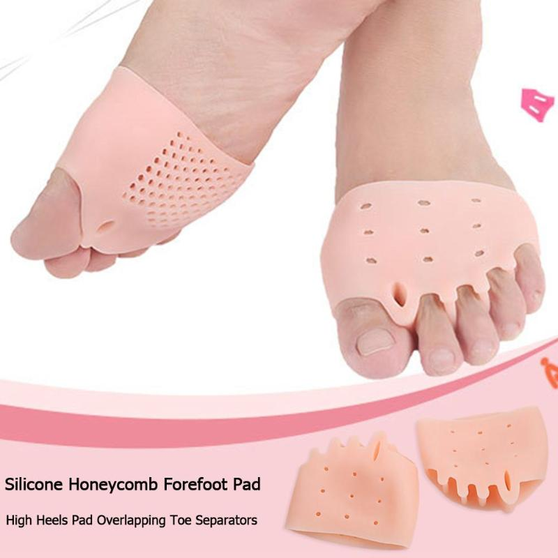 1 Pair Silicone Honeycomb Forefoot Insoles High Heels Shoes Pad Overlapping Toe Separators Hallux Valgus Orthotics Insoles