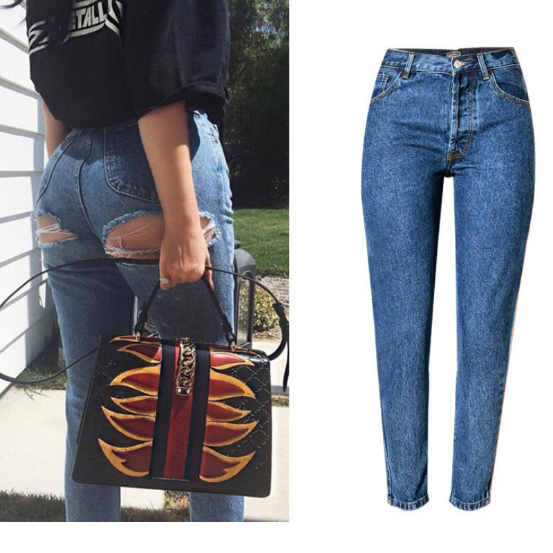 Ass Hole Butt Ripped Jeans For Women Butt Lift Highwaist Jeans Woman Mom Oversized Jeans Plus Size Skinny High Waisted Jeans