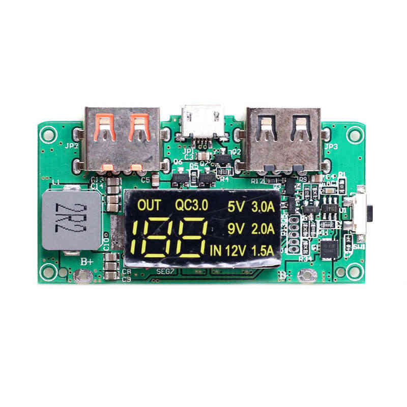 FULL-5V Boost Hoge Pass Qc3.0 Snel Opladen Press Board Met Digitale Power Display Mobiele Power Circuit Board